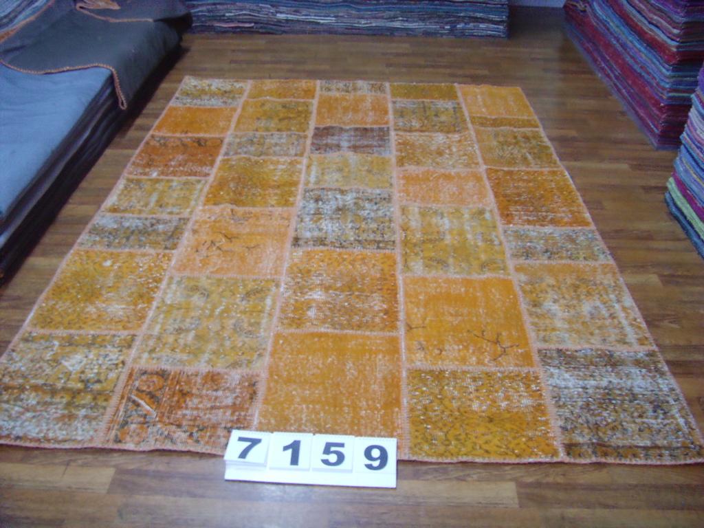 Oranje patchwork vloerkleed 7159 (300cm x 200cm) Verkocht!!!
