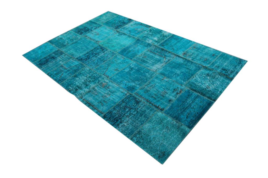 Blauw patchwork vloerkleed 7164 (300cm x 200cm) gemaakt van oude recoloured vloerkleden incl.onderkleed van katoen.