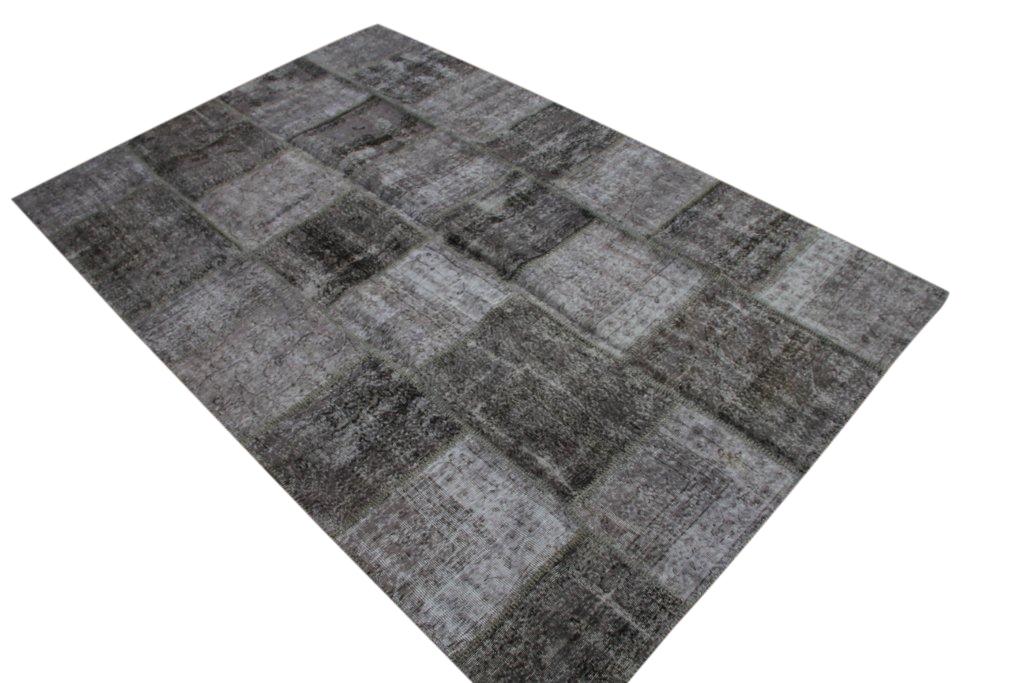 NIEUW BINNEN:grijs patchwork vloerkleed uit Turkije  300cm x 200cm, no 7189