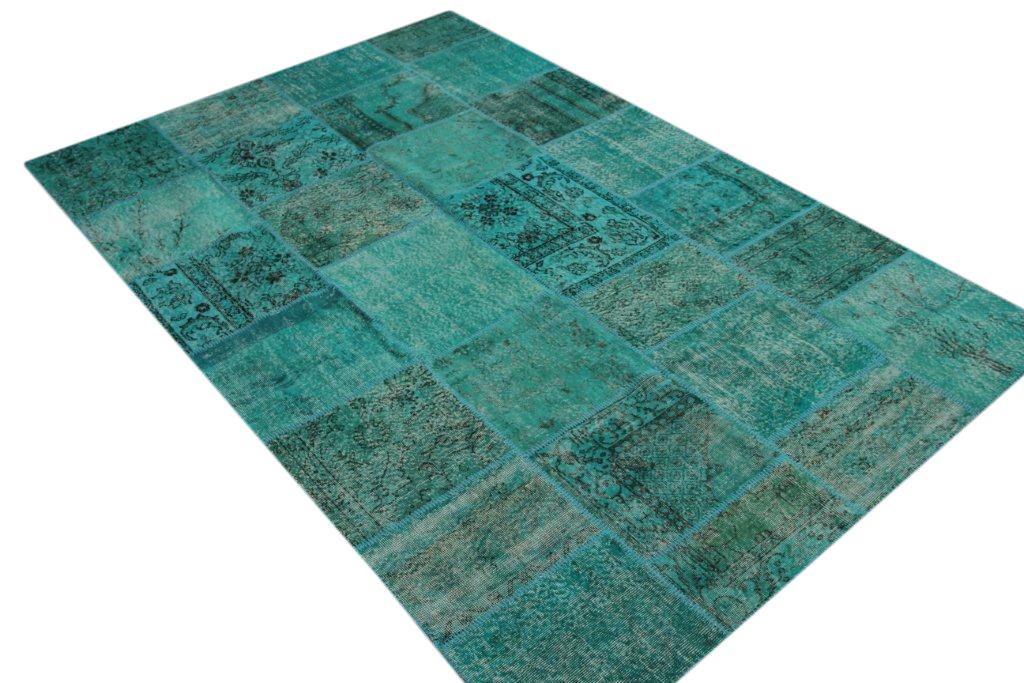 Aqua blauw patchwork vloerkleed uit Turkije  301cm x 202cm, no 7192
