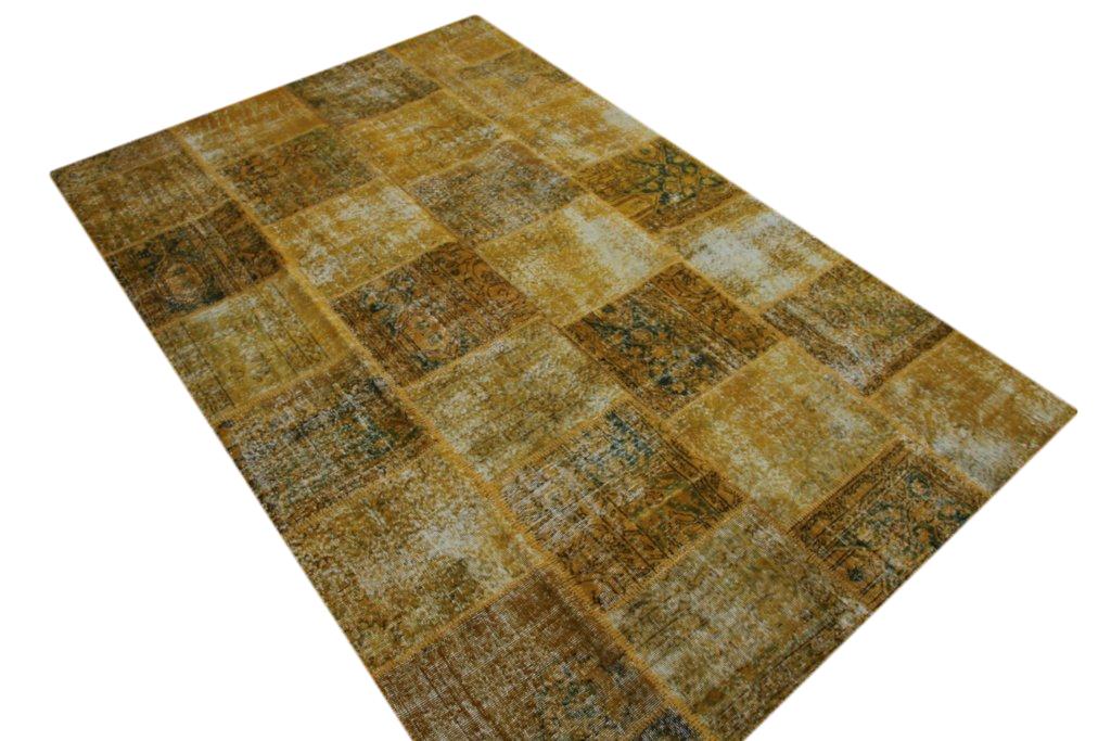 Geel patchwork vloerkleed uit Turkije  303cm x 200cm, no 7198
