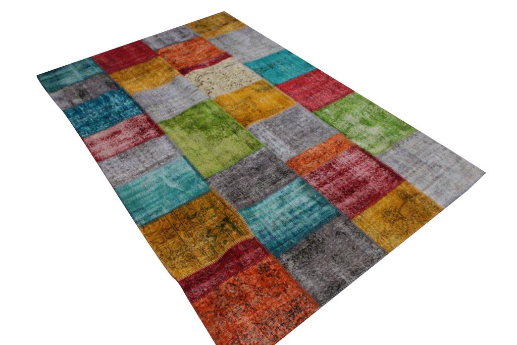 Patchwork vloerkleed met meerdere kleuren uit Turkije  310cm x 200cm, no 7202