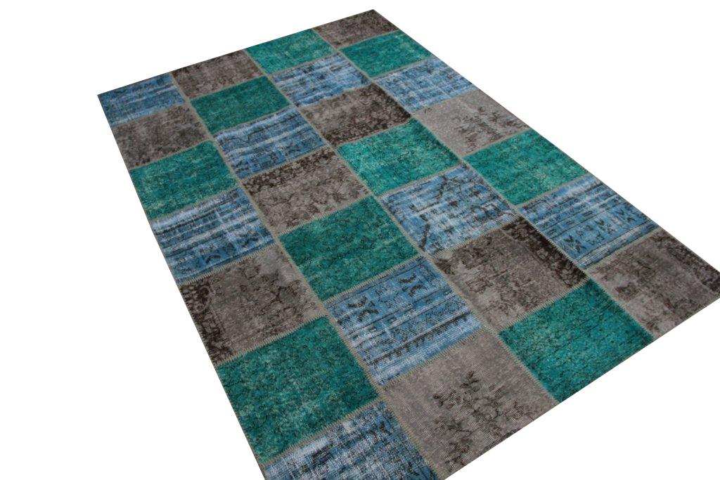Patchwork vloerkleed, blauw grijs, 300cm x 200cm