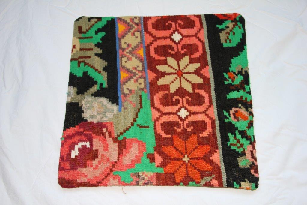 Kelim kussen  45cm x 45cm, handgeweven uit Moldavië, no 721 wordt geleverd incl. binnenkussen