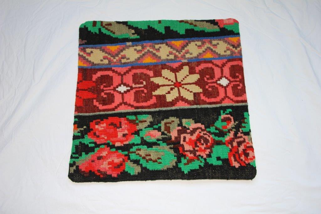 Kelim kussen  45cm x 45cm, handgeweven uit Moldavië, no 734 wordt geleverd incl. binnenkussen