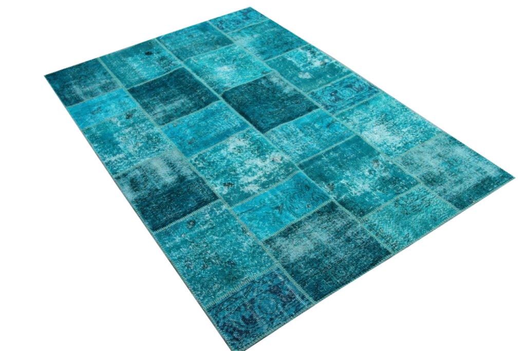 Blauw patchwork vloerkleed 5345 (240cm x 170cm) gemaakt van vintage vloerkleden