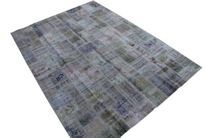 Patchwork vloerkleed, olijfgroen, 300cm x 215cm