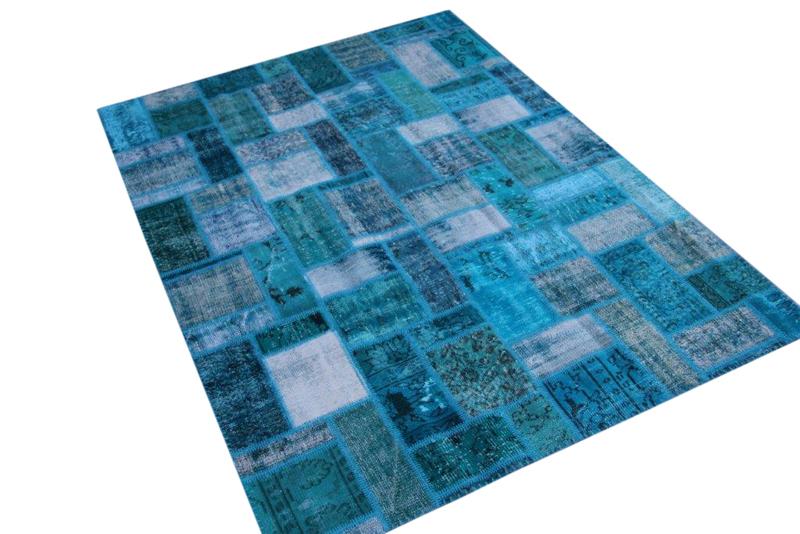 Blauw patchwork vloerkleed 238cm x 174cm 7610
