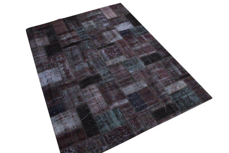 Antraciet patchwork vloerkleed 237cm x 173cm 7614