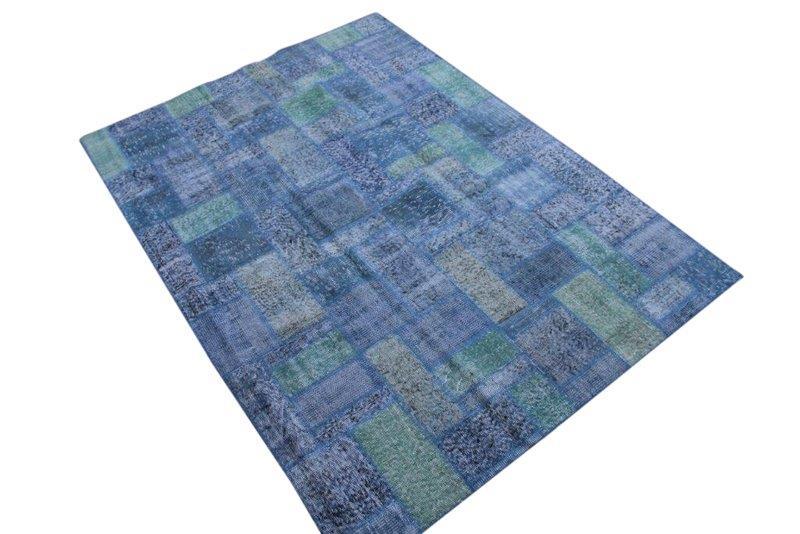 Blauw Patchwork vloerkleed 237cm x 172cm 7622