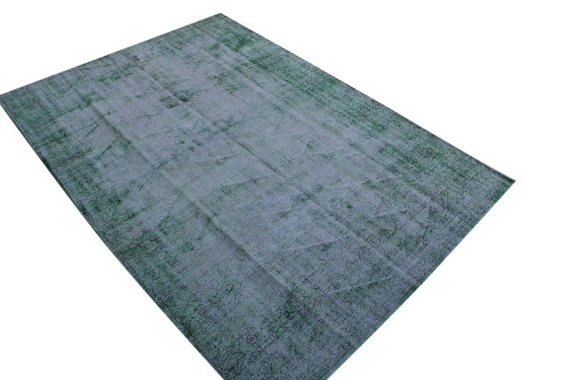 Vintage vloerkleed, grijs met groen, 298cm x 174cm