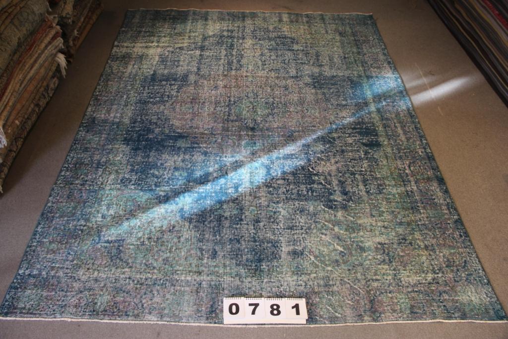 Groen blauw recoloured vintage vloerkleed 286cm x 205cm, no 781