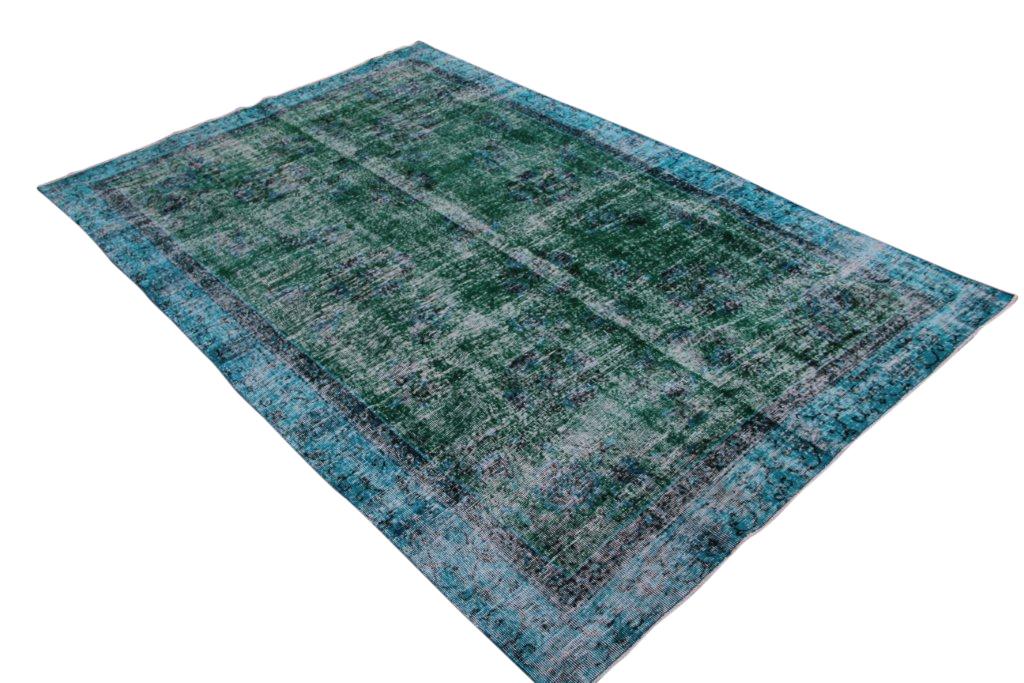 NIEUW INGEKOCHT blauw vintage vloerkleed  uit Turkije 300cm x 200cm, no 798