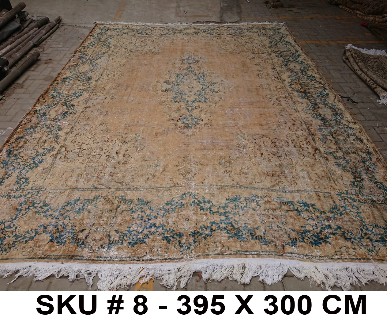 Vintage vloerkleed met blauw, nr.62338, 395cm x 300cm