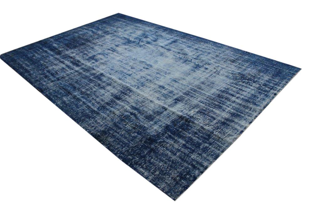NIEUW BINNEN donkerblauw versleten look vloerkleed  uit Turkije 330cm x 223cm, no 801