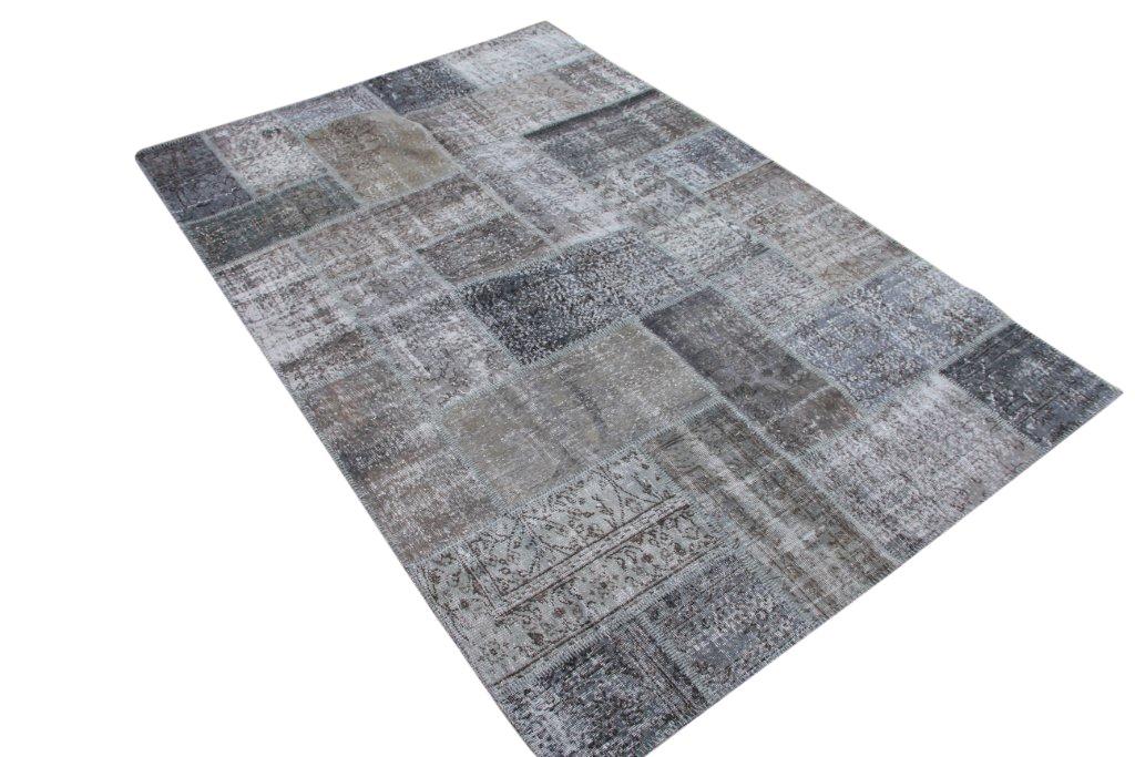Grijs patchwork vloerkleed 802D (301cm x 200cm) gemaakt van recoloured vloerkleden