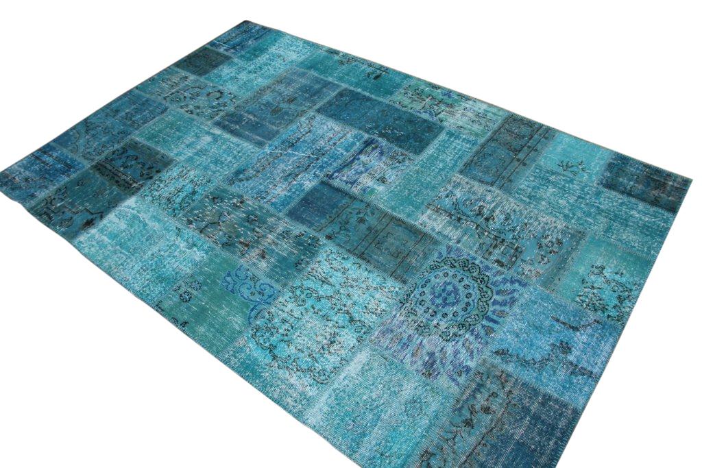 Vintage patchwork vloerkleed 805 (300cm x 200cm) gemaakt van recoloured vloerkleden