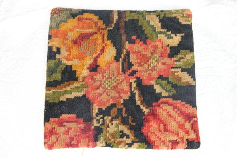 Kelim kussen no 805 (40cm x 40cm) Vintage kussen gemaakt van bloemen kelim uit Moldavie