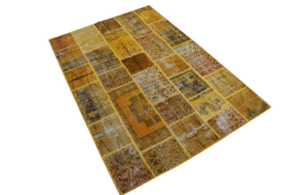 Geel patchwork vloerkleed   081  (248cm x 167cm)