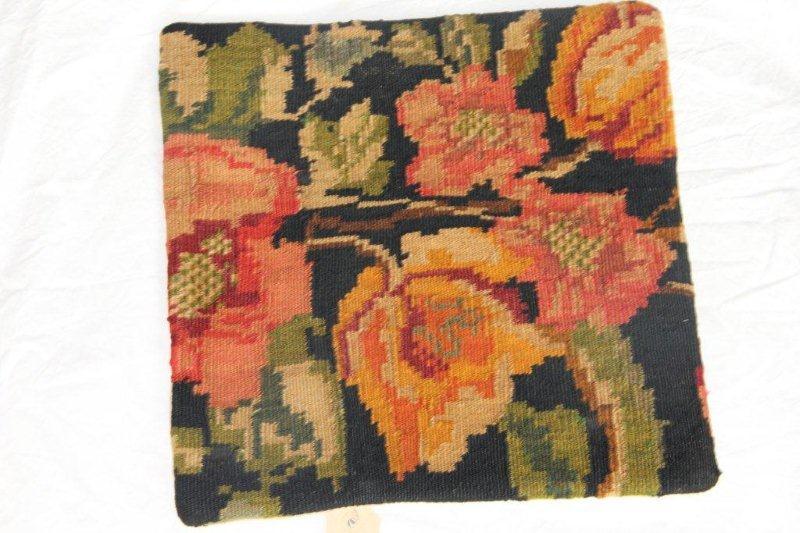 Kelim kussen no 816 (40cm x 40cm) Vintage kussen gemaakt van bloemen kelim uit Moldavie