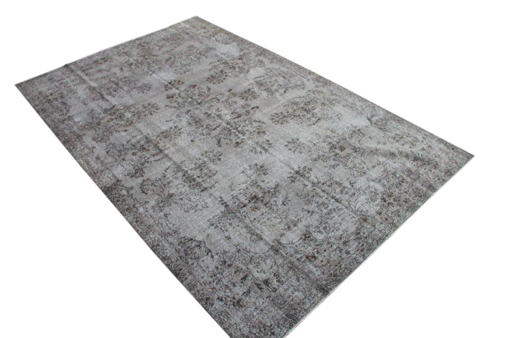 Recolored grijs gebleekt vintage vloerkleed  uit Turkije 329cm x 212cm, no 819