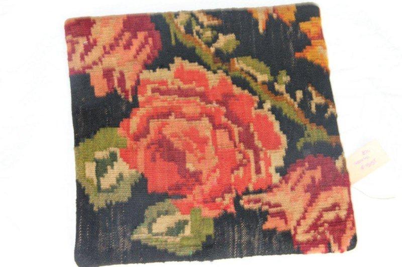 Kelim kussen no 820 (40cm x 40cm) Vintage kussen gemaakt van bloemen kelim uit Moldavie