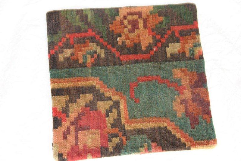 Kelim kussen no 823 (40cm x 40cm) Vintage kussen gemaakt van bloemen kelim uit Moldavie