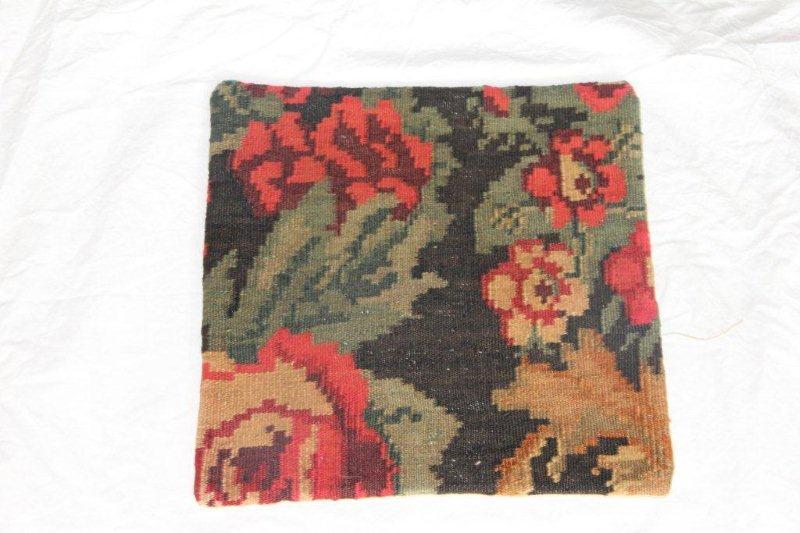 Kelim kussen no 827 (40cm x 40cm) Vintage kussen gemaakt van bloemen kelim uit Moldavie