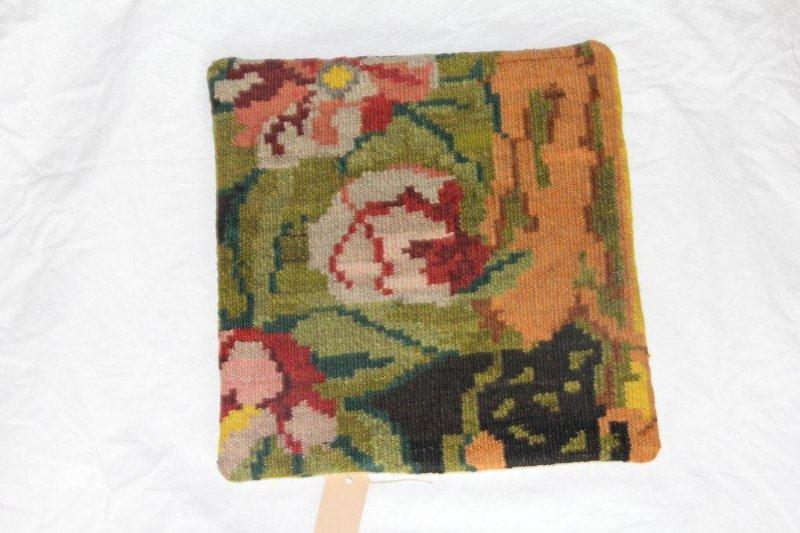 Kelim kussen no 837 (40cm x 40cm) Vintage kussen gemaakt van bloemen kelim uit Moldavie