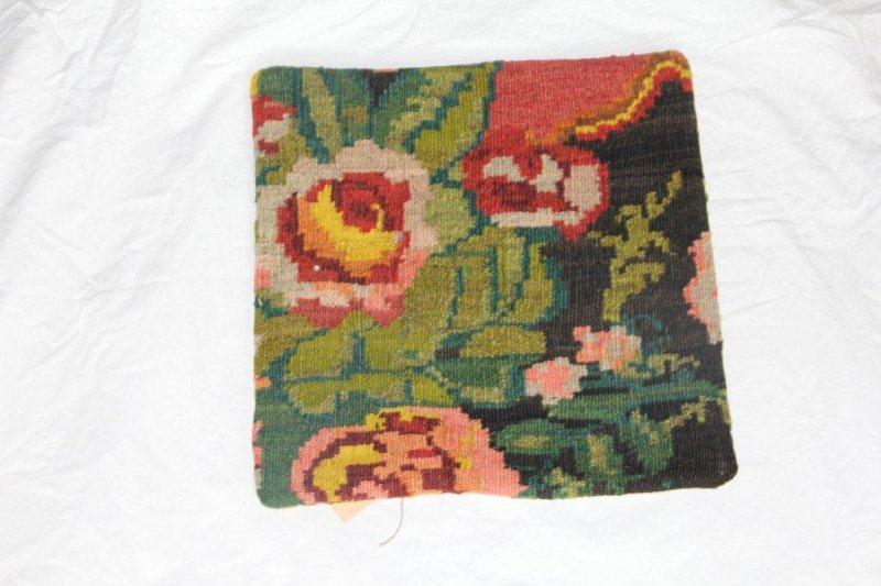 Kelim kussen no 839 (40cm x 40cm) Vintage kussen gemaakt van bloemen kelim uit Moldavie