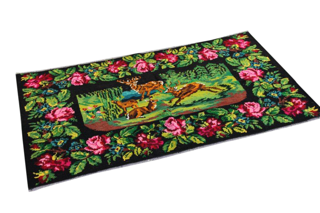 Kelim met rozen nr 84 (195cm x 108cm) Handgeweven kelim in perfecte staat 30 tot 80 jaar oud.