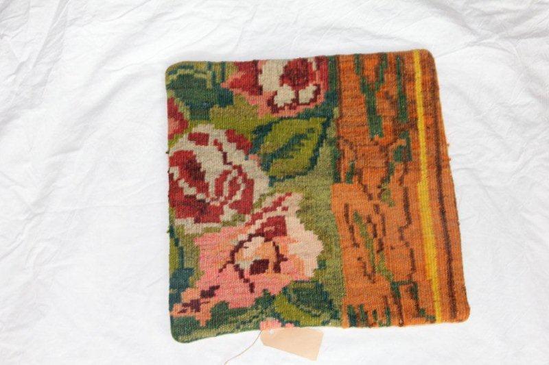 Kelim kussen no 842 (40cm x 40cm) Vintage kussen gemaakt van bloemen kelim uit Moldavie