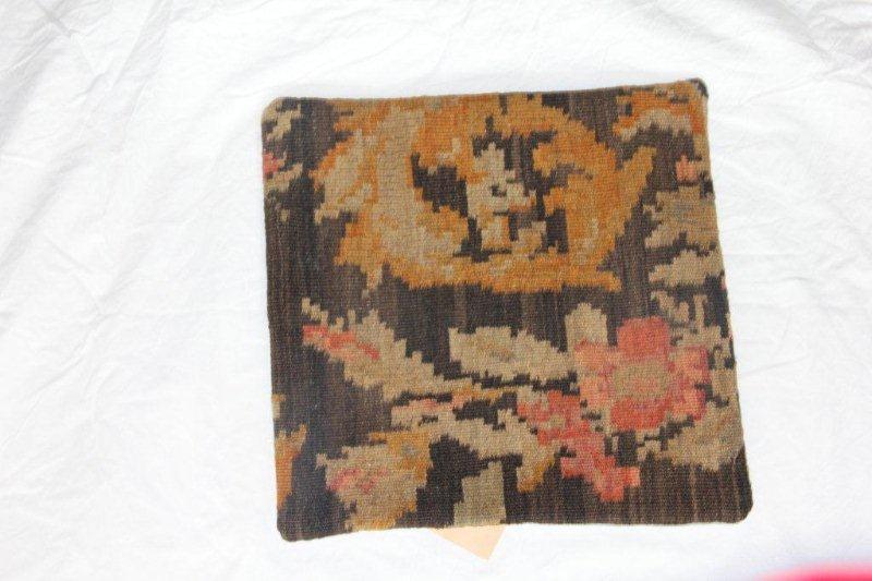 Kelim kussen no 846 (40cm x 40cm) Vintage kussen gemaakt van bloemen kelim uit Moldavie