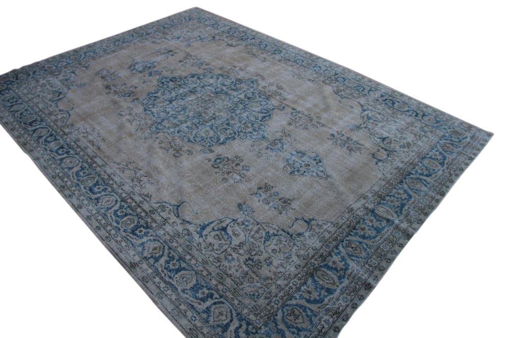 NIEUW BINNEN Recoloured zandkleur met blauw vintage vloerkleed  uit Turkije 376cm x 283cm, no 847