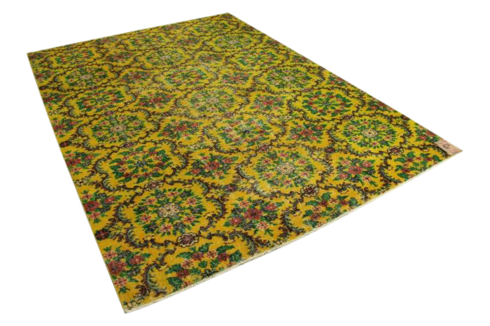 Geel vintage vloerkleed uit Turkije