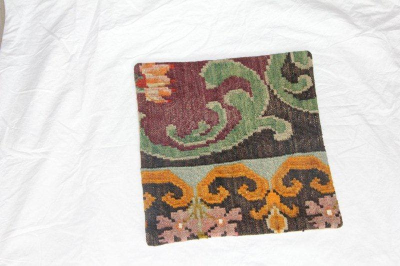 Kelim kussen no 849 (40cm x 40cm) Vintage kussen gemaakt van bloemen kelim uit Moldavie
