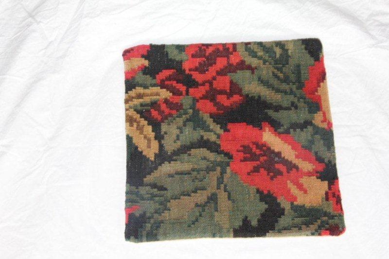 Kelim kussen no 856 (40cm x 40cm) Vintage kussen gemaakt van bloemen kelim uit Moldavie