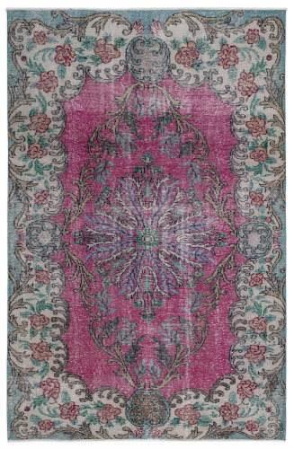 Vintage vloerkleed, roze met groen, 286cm x 186cm