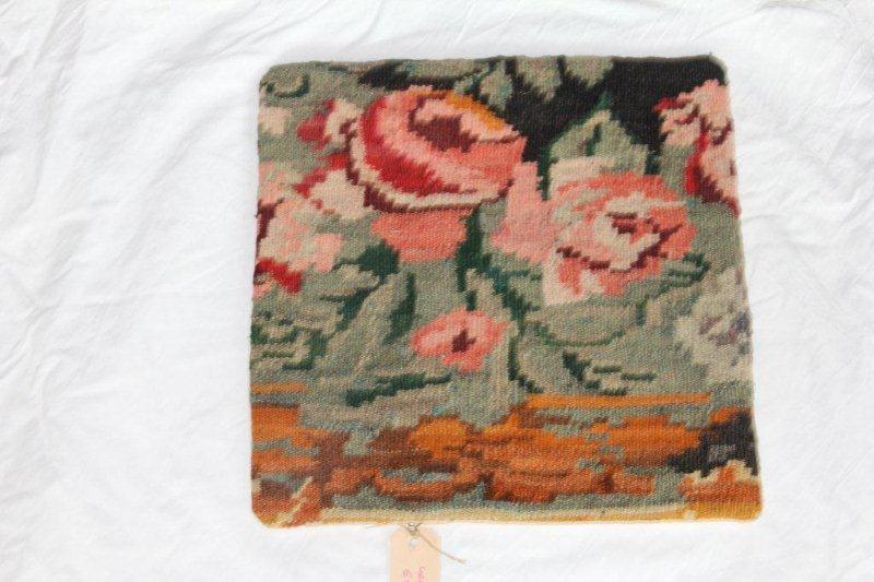 Kelim kussen no 861 (40cm x 40cm) Vintage kussen gemaakt van bloemen kelim uit Moldavie