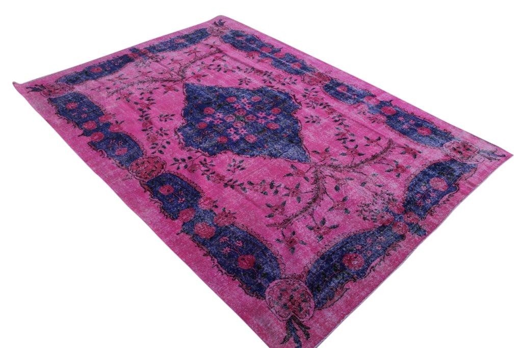 Blauw met roze vintage vloerkleed  uit Turkije 306cm x 210cm, no 869