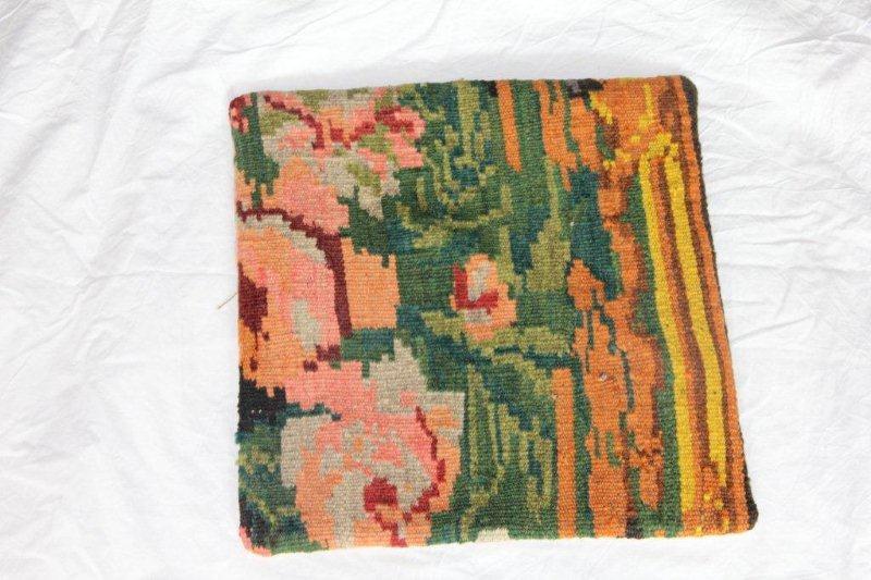Kelim kussen no 869 (40cm x 40cm) Vintage kussen gemaakt van bloemen kelim uit Moldavie