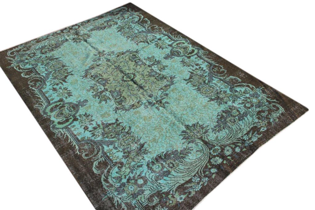 VERKOCHT blauw vintage vloerkleed  uit Turkije 258cm x 184cm, no 876