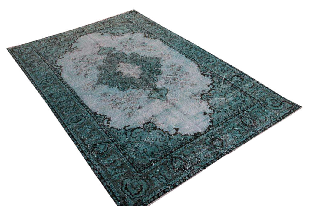Recoloured  zeegroen vintage vloerkleed  uit Turkije 285cm x 192cm, no 892