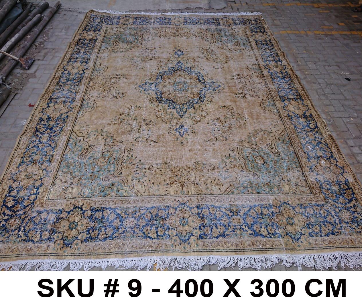 Vintage vloerkleed zandkleur met blauw, nr.62339, 400cm x 300cm
