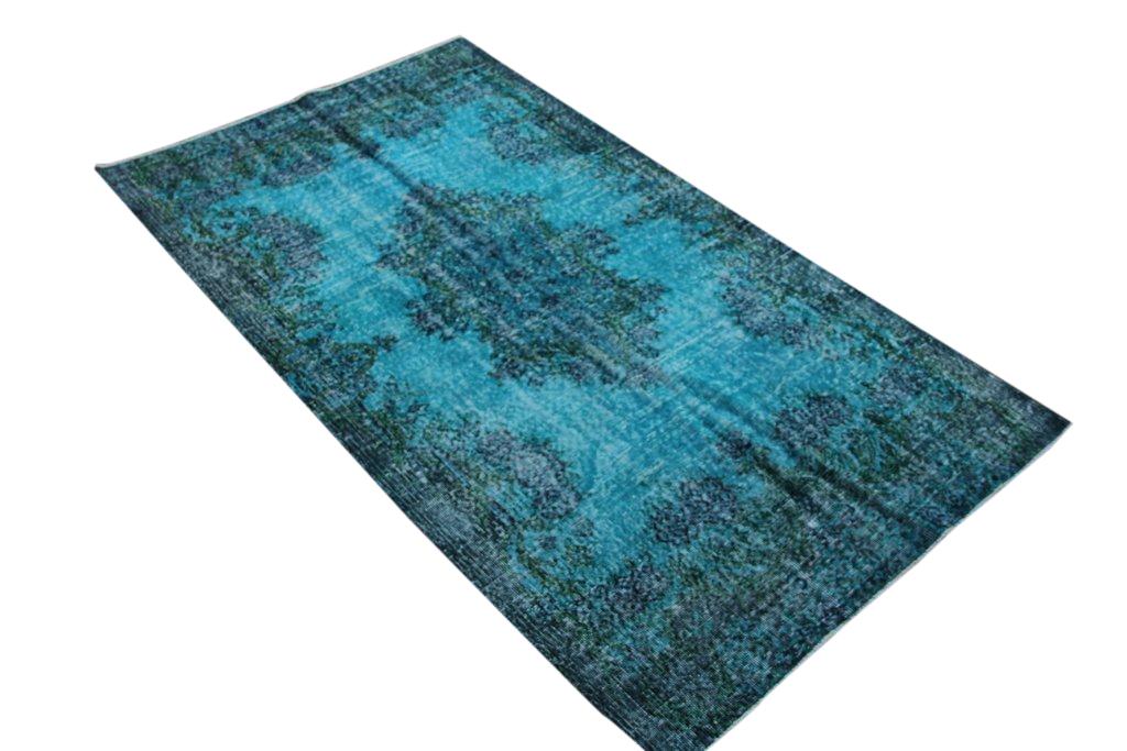 Recoloured  blauw vintage vloerkleed  uit Turkije 238cm x 140cm, no 908