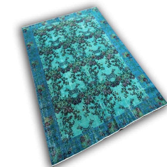 Turquoise kleed met bloemen 9401 (290cm x204cm)