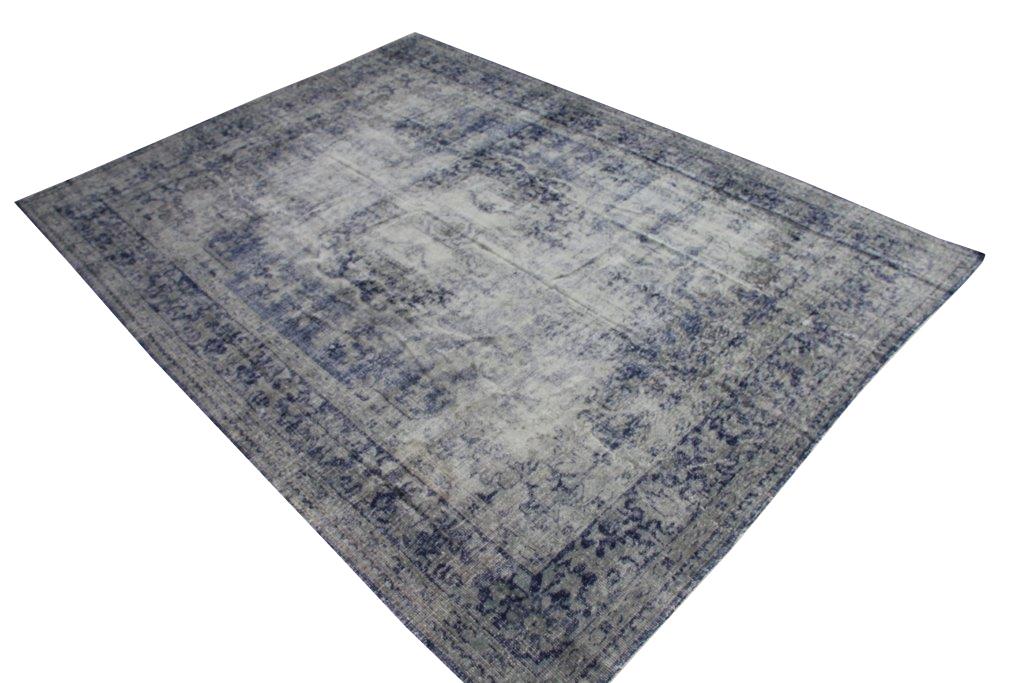 NIEUW BINNEN Recoloured grijs met blauw vintage vloerkleed  uit Turkije 333cm x 246cm, no 945