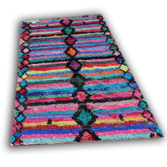 Oude boucherouitte uit marokko 9479 (270cm x 165cm) Handgemaakt van diverse kleuren stofjes