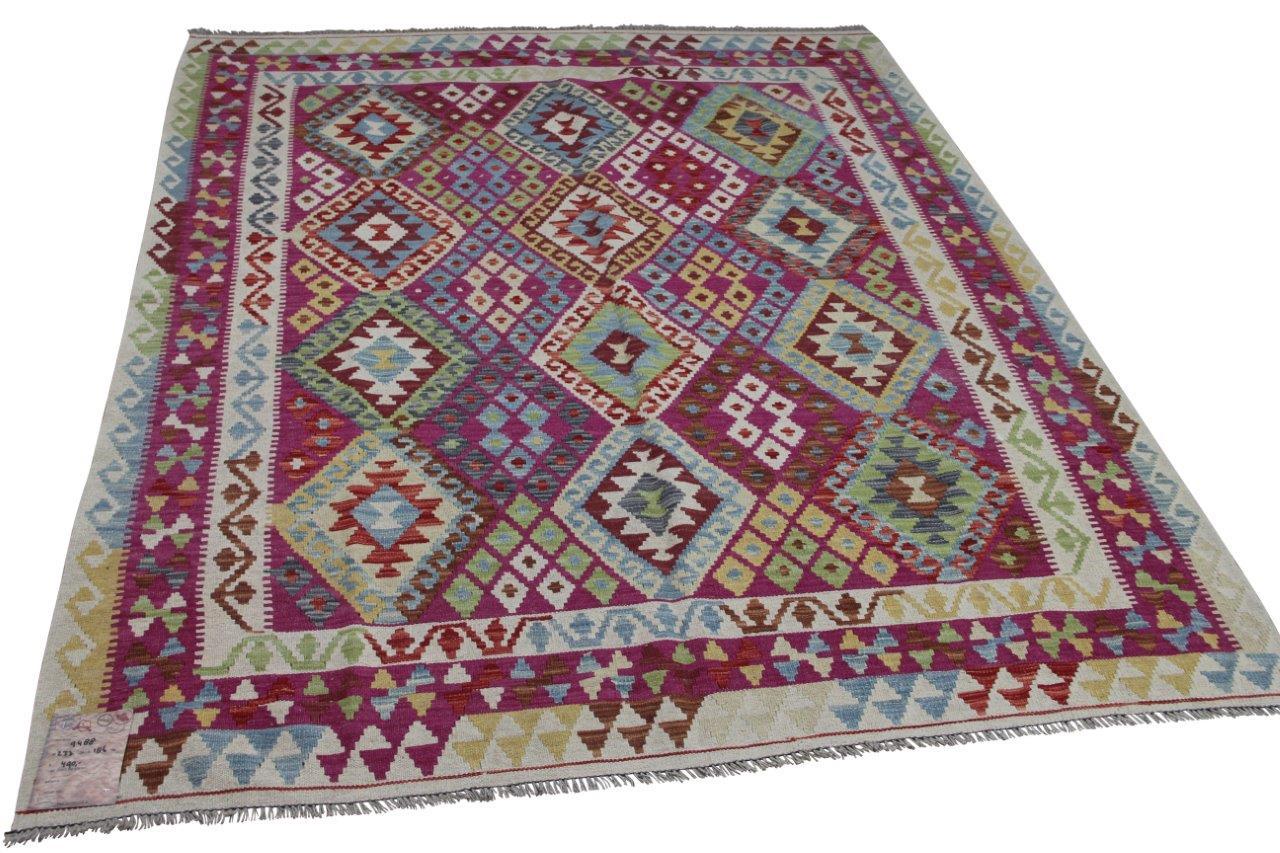 Handgemaakte kelim uit Afghanistan 9488 237cm x 186cm