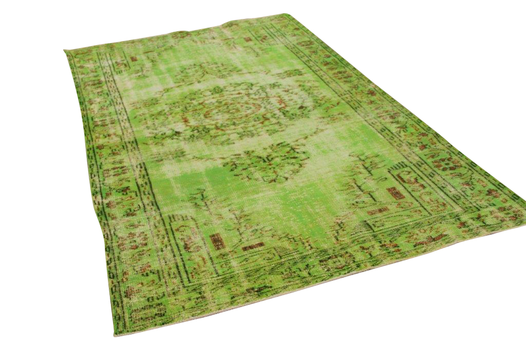 Groen vintage vloerkleed 268cm x 161cm
